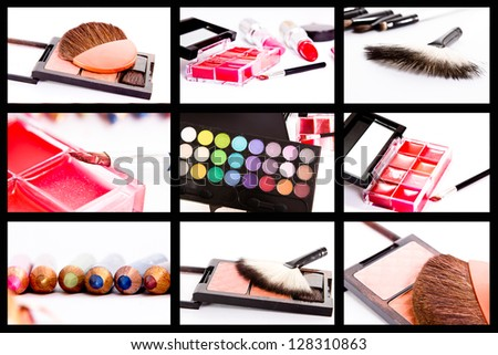 professional make-up shadow set, brush, pencils collage