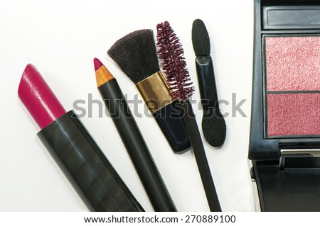 Professional makeup brush and cosmetics - stock photo