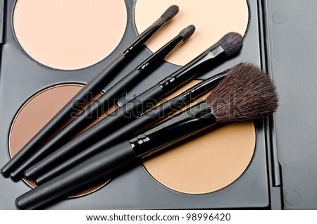 Professional makeup brush and cosmetics - stock photo