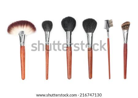 Professional makeup brush set - stock photo