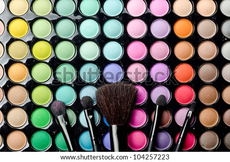 Professional makeup brushes and cosmetics