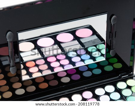 Professional makeup palette closeup studio macro shot - stock photo