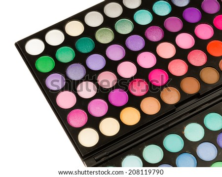 Professional makeup palette isolated on white background - stock photo