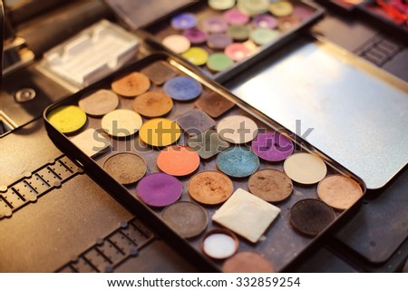 Professional makeup palette with different color shades - stock photo