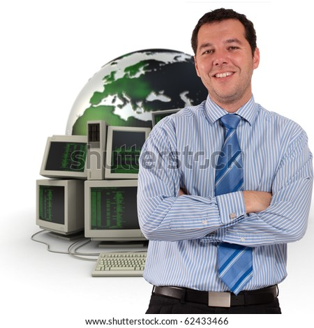 Professional man with a world map and piles of computers - stock photo