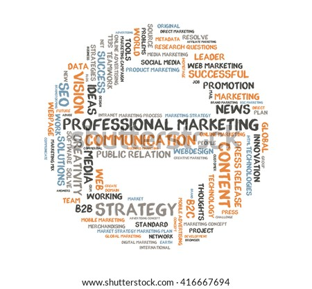 Professional Marketing word cloud shaped as a stop sign - stock photo