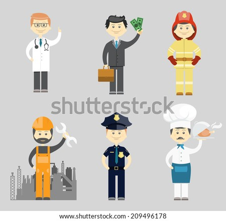 Professional men character icon set with a doctor  successful businessman  fireman  industrial construction worker or mechanic  policeman and chef in a toque