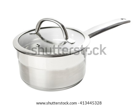 professional metal pot cooker for boiling isolated  - stock photo