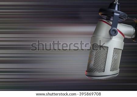 professional microphone in the radio studio - stock photo