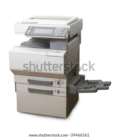 Professional multifunction printer isolated on white - stock photo