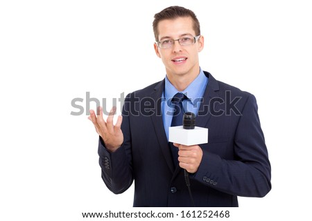 Professional news reporter in live broadcasting stock photo