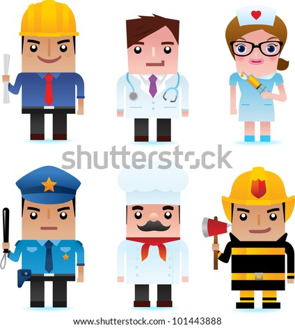 Professional occupation icons including engineer, doctor, nurse, policeman, chef, fire officer - stock photo
