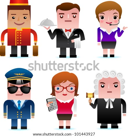 Professional occupation icons including porter, waiter, customer service representative, pilot, accountant, judge