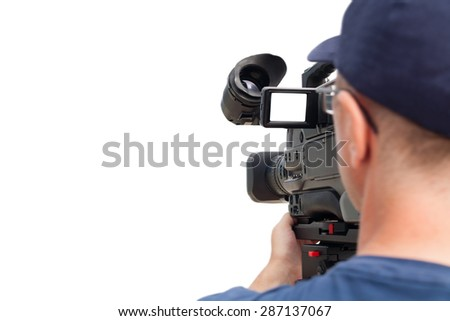 Professional operator with a video camera at work. Isolated on white background.