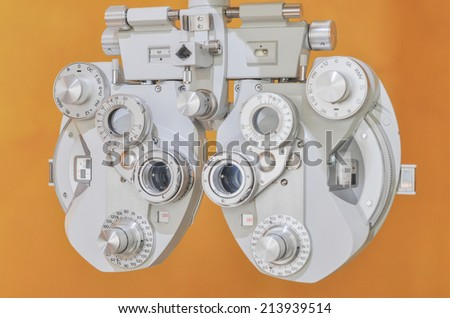 Professional optometrist diopter tool in an optician laboratory - stock photo