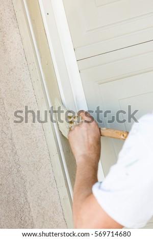 Professional Painter Cutting Brush Paint Garage Stock Photo (Royalty ...