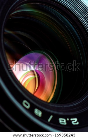 Professional photo lens closeup with colorful reflections.