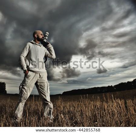 professional photographer traveler - stock photo
