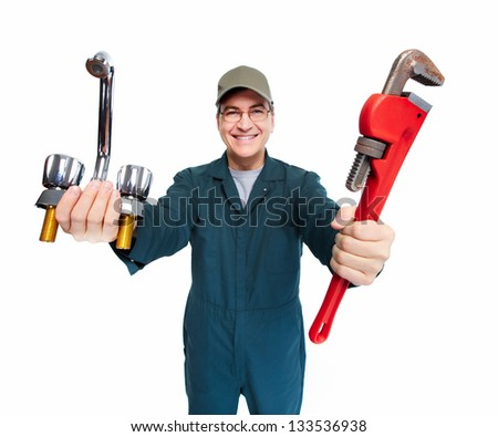 Professional plumber with wrench. Isolated on white background. - stock photo