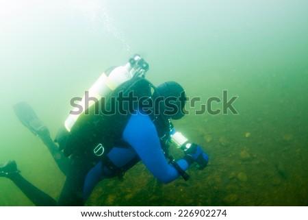 professional scuba diver - stock photo