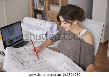 Professional services of young but creative woman  - stock photo