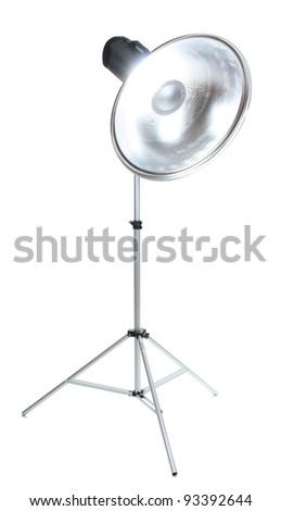 Professional studio flash isolated on white - stock photo