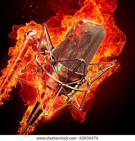 professional studio microphone & fire - stock photo