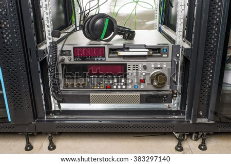 Professional tape in the server for video production - stock photo