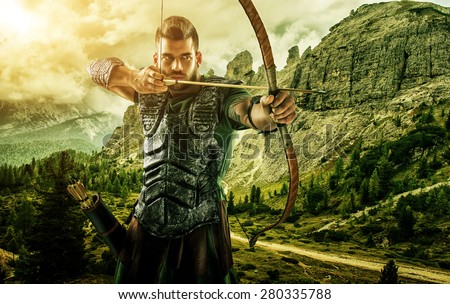 Professional target archery, hunting in the forest, close-up - stock photo