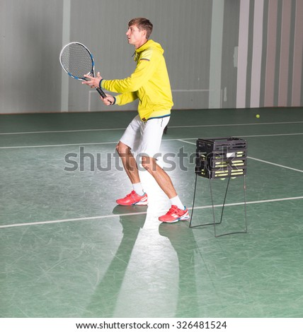 Professional tennis player have a training