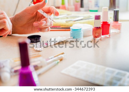 professional tools and polish for Nail art