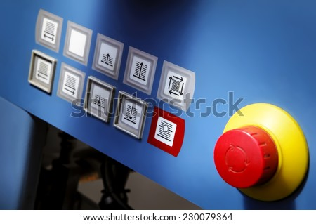 Professional touch screen on a printing press in the printing - stock photo