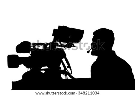 Professional TV cameraman with camera and headphones silhouette  - stock photo