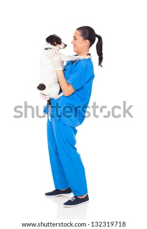 professional vet doctor holding a dog isolated on white - stock photo