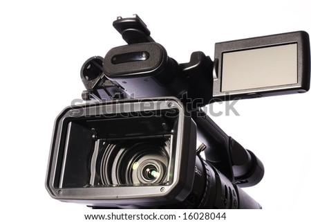 professional video camcorder isolated on white