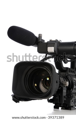 Professional video camera close up isolated on a white background - stock photo