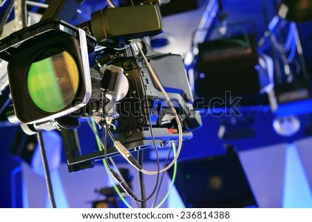 Professional video camera in the studio