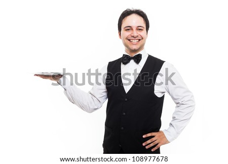 Professional waiter holding an empty dish. Isolated on white - stock photo