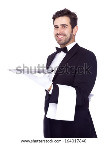 Professional waiter holding an empty dish, isolated on white background
