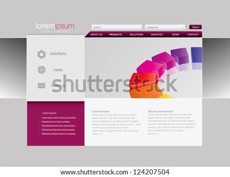 Professional website template. Vector format in portfolio. - stock photo