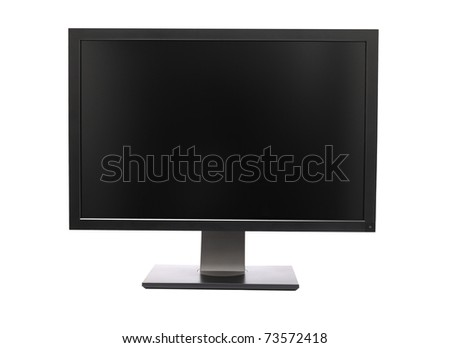 Professional wide monitor isolated on white - stock photo