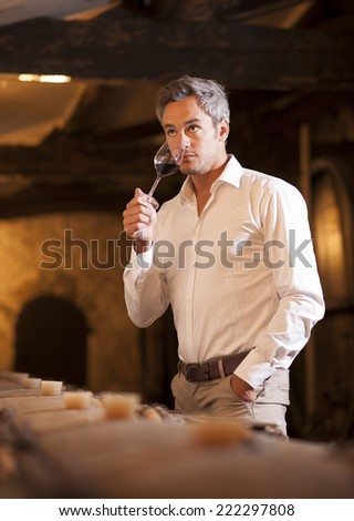 Professional winemaker smelling a glass of red wine in his traditional cellar surrounded by wooden barrels - stock photo