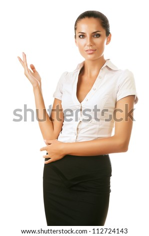 professional woman showing something on white background