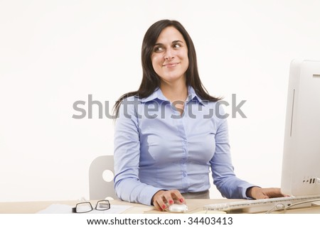 professional woman sitting at desk