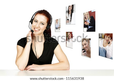 Professional woman talking on a headset in her office at work, displaying a concept of her customers - stock photo