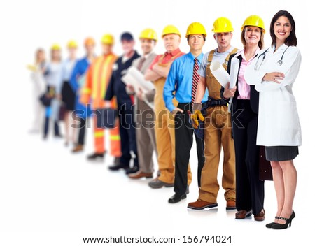 Professional workers group. Business team isolated on white background. - stock photo