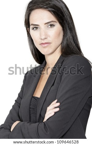 Professional working woman in corporate business clothes with a serious look - stock photo