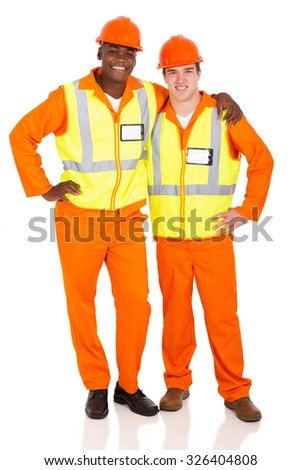 professional young contractors standing on white background - stock photo