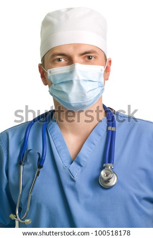 professional young doctor with a stethoscope - stock photo