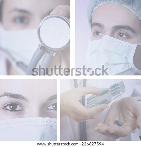 Professional young doctors at work. Collage.